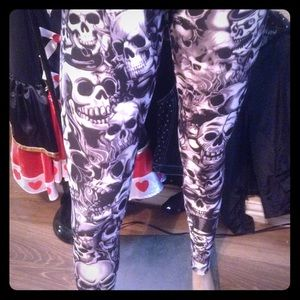 Gothic skull punk leggings